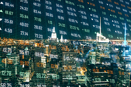 Creative night city background with index forex chart. Stock and exchange concept. Double exposure