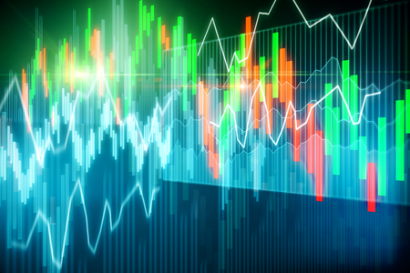 Creative glowing forex chart background. Invest and broker concept. Double exposure Standard-Bild - 119372056