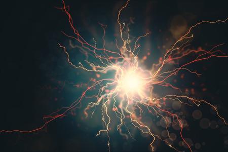 Abstrait de molécule rougeoyante. Concept de médecine et de science. Rendu 3D Banque d'images