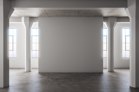 Blank concrete interior with copyspace on wall, city view and daylight. Mock up, 3D Rendering