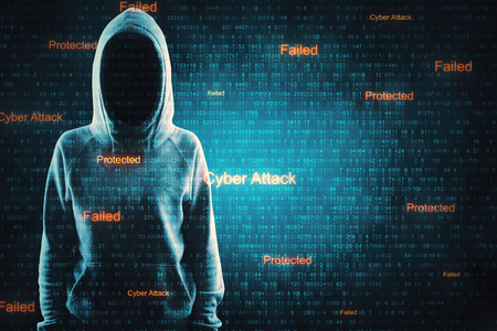 Hacker in hoodie on abstract cyber background. Virus attack and phishing concept. Double exposure Stock Photo