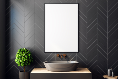 Modern black bathroom interior with decorative tree, sink, sunlight and empty poster. 3D Rendering Banco de Imagens