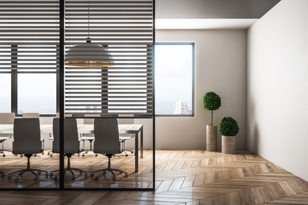 Bright meeting room interior with city view and daylight. Workplace design concept. 3D Rendering Imagens