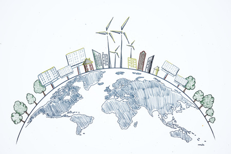 Creative eco globe sketch on white background. Eco-friendly and care concept Banco de Imagens