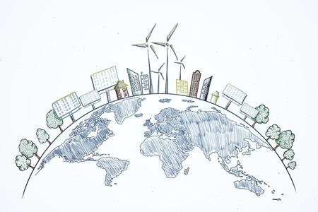 Kreative Öko-Globus-Skizze auf weißem Hintergrund. Umweltfreundliches und Pflegekonzept