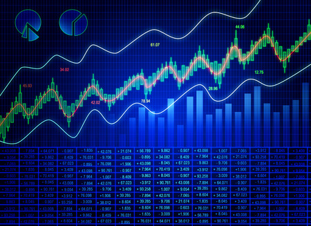 Creative blue forex chart background with candlestick line. Invest and trade concept. 3D Rendering Standard-Bild - 119372475