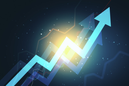 Glowing arrows on blue background. Growth and development concept. 3D Rendering
