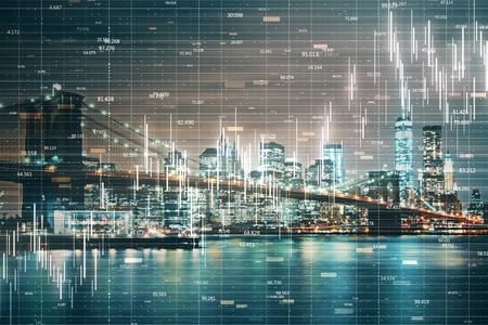 Glowing forex chart on blurry night New York city background with grid. Invest and trade concept. Double exposure