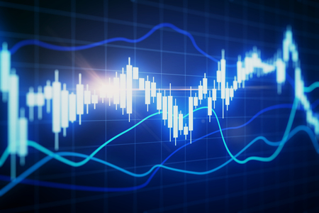 Blurry glowing forex chart on grid background. Finance and trade concept. 3D Rendering 스톡 콘텐츠