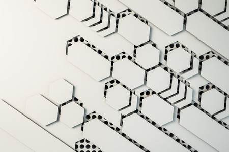 Creative white mosaic wallpaper. Design and creativity concept. 3D Rendering