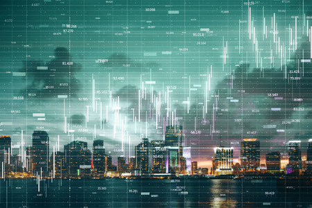 Glowing forex chart on blurry night New York city background with grid. Analysis and trade concept. Double exposure