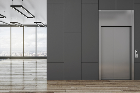 Modern office lobby interior with elevator, city view and blank copyspace. Mock up, 3D Rendering Stock Photo