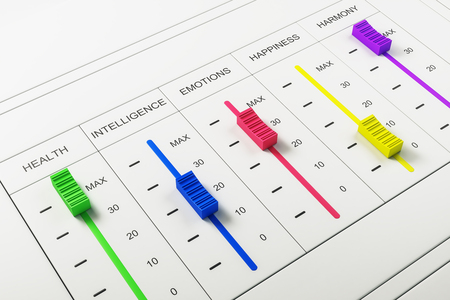 Abstract colorful happiness switchboard on white background. Emotive and creativity concept. 3D Rendering Stock Photo