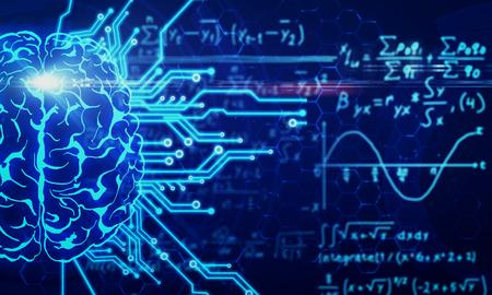 Cervello del circuito incandescente su sfondo sfocato di formule matematiche. AI e concetto di matematica. Rendering 3D Archivio Fotografico