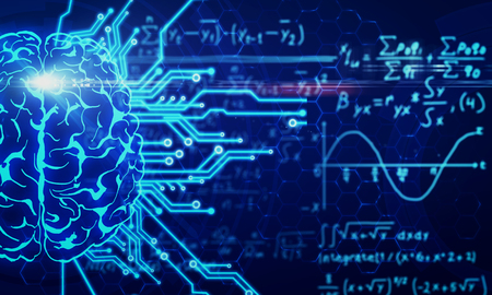 Glowing circuit brain on blurry mathematical formulas background. AI and math concept. 3D Rendering Stock Photo