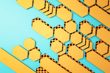 Creative yellow mosaic on blue wallpaper. Design and creativity concept. 3D Rendering