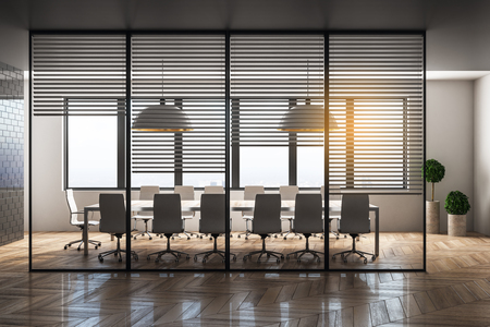 Contemporary meeting room interior with city view and daylight. Workplace design concept. 3D Rendering