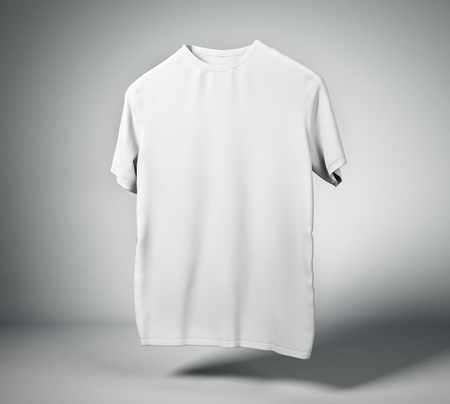 Blank white t-shirt on light background with shadow. Design and print concept. Mock up, 3D Rendering