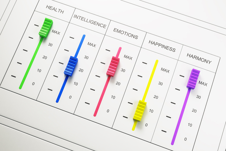 Abstract colorful happiness switchboard on white backdrop. Emotive and creativity concept. 3D Rendering Stock Photo