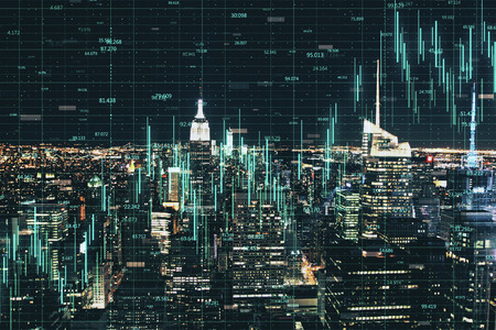 Glowing forex chart on blurry night New York city background with grid. Economy and trade concept. Double exposure