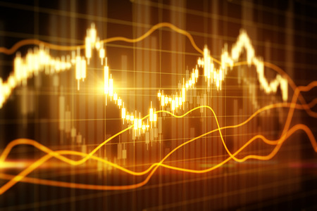 Blurry glowing forex chart on grid wallpaper. Finance and trade concept. 3D Rendering