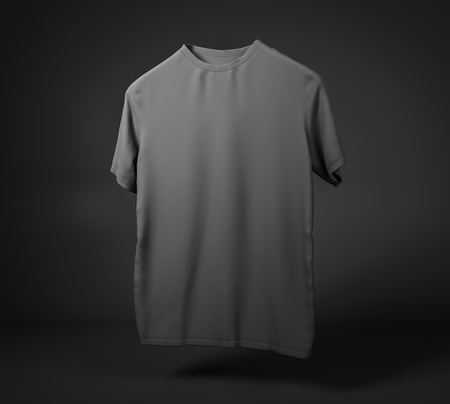 Empty black t-shirt on background with shadow. Design and print concept. Mock up, 3D Rendering