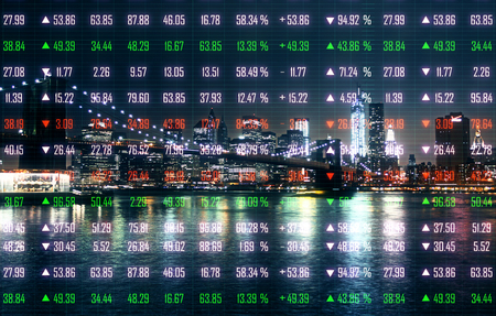 Creative night city background with index forex chart. Stock and economy concept. Double exposure
