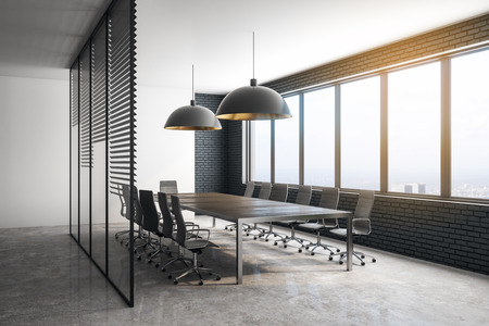 Side view of modern conference room interior with city view and daylight. 3D Rendering