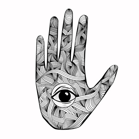 Abstract esoteric mandala hand with eye drawing on light background. Oriental ornament and hinduism concept Stock Photo