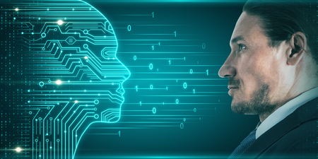 Side portrait of attractive young european businessman with digital head outline, circuit and binary code. Artificial intelligence and futuristic concept. Double exposure