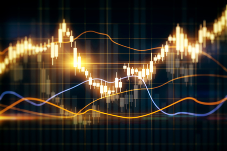 Blurry glowing forex chart on grid texture. Finance and trade concept. 3D Rendering Standard-Bild - 119868617