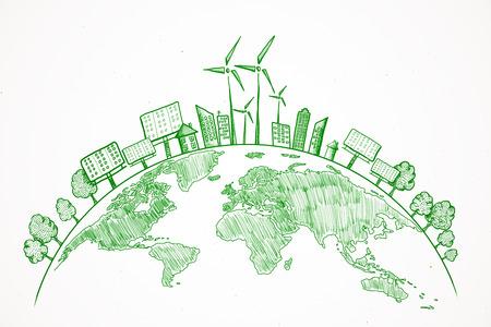 Schizzo creativo del globo di eco su priorità bassa bianca. Concetto ecologico e verde