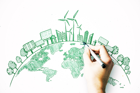 Hand drawing creative eco globe sketch on white background. Eco-friendly and green concept