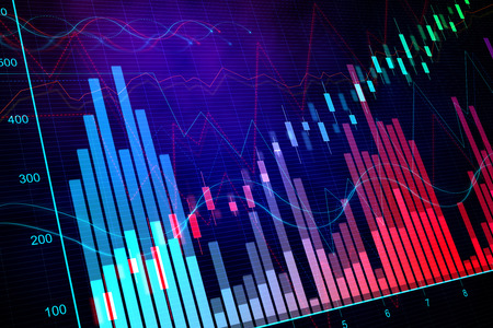 Colorful glowing blurry candlestick forex chart backdrop with lines. Invest and finance concept. 3D Rendering Standard-Bild - 119868793