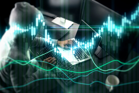 Side view of hacker using laptop at blurry desktop with coffee cup and glowing forex chart. Trade and malware concept. Double exposure Фото со стока