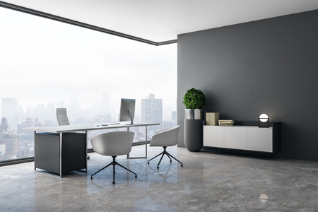 Clean office interior with panoramic city view, daylight, concrete floor and workplace. 3D Rendering