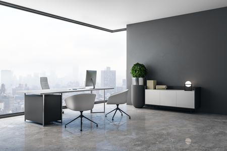 Saubere Büroeinrichtung mit Panoramablick auf die Stadt, Tageslicht, Betonboden und Arbeitsplatz. 3D-Rendering