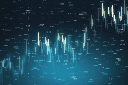 Finance and invest concept. Creative glowing candlestick forex chart on dark blue background. 3D Rendering