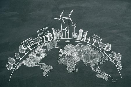 Bosquejo creativo del globo del eco en el fondo de la pizarra. Concepto ecológico y medioambiental.