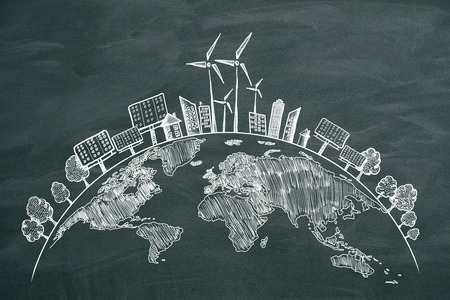 Creative eco globe sketch on chalkboard background. Eco-friendly and environment concept 免版税图像 - 119868932