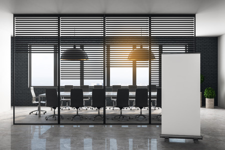 Modern meeting room interior with empty billboard, furniture and daylight. Toned image. Workplace concept. Mock up, 3D Rendering