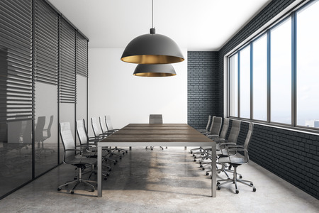 Side view of modern meeting room interior with city view and daylight. 3D Rendering