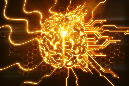 Creative glowing orange brain on circuit background. AI and innovate concept. 3D Rendering Stok Fotoğraf