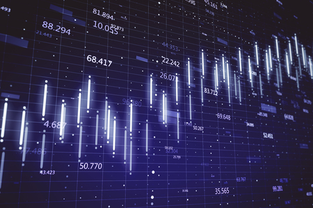 Finance and invest concept. Creative glowing candlestick forex chart on dark blue wallpaper. 3D Rendering
