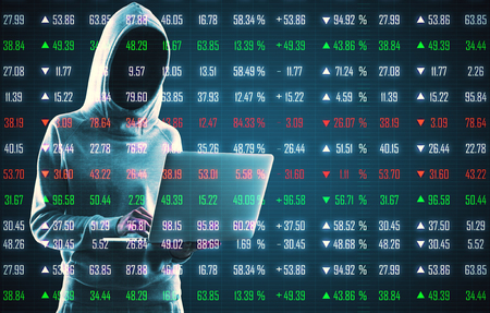 Hacker using laptop on creative forex chart index background. Hacking, technology and trade concept. Double exposure Imagens