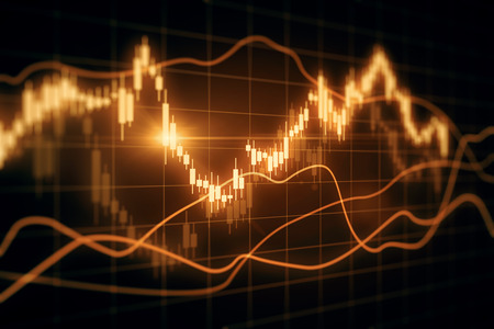 Blurry glowing forex chart on grid backdrop. Finance and trade concept. 3D Rendering