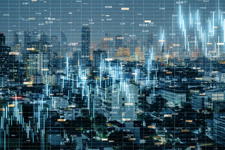 Glowing forex chart on blurry night New York city background with grid. Finance and trade concept. Double exposure