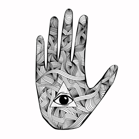 Creative esoteric mandala hand with eye drawing on light wallpaper. Oriental ornament and hinduism concept Stock Photo