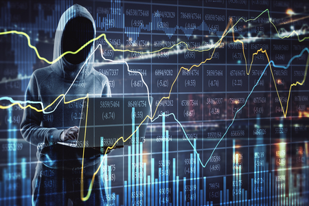 Criminal and trade concept. Side view of hacker using laptop on blurry night city background with glowing forex chart. Double exposure