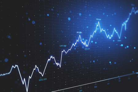 Finance and economy concept. Creative glowing candlestick forex chart on dark blue wallpaper. 3D Rendering
